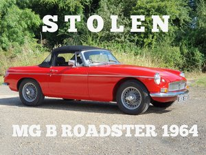 MG B Roadster, 1964, Flame Red - STOLEN For Sale