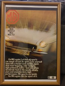 1969 MG Framed Advert Original  For Sale