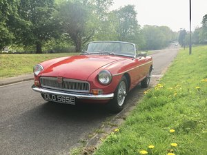 1967 MGB Roadster in red with wire wheels