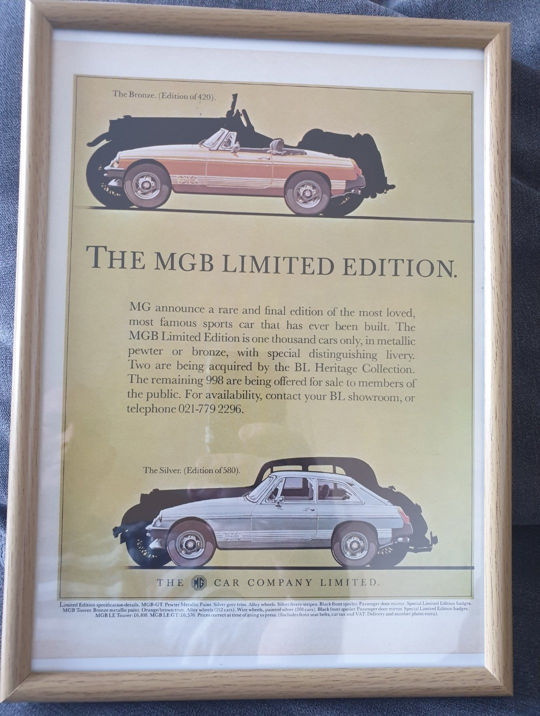 1981 Original MGB Limited Edition Advert For Sale (picture 1 of 2)