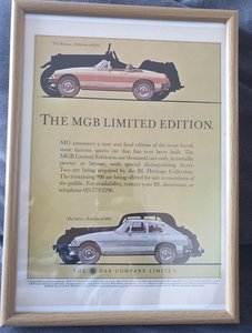 1981 Original MGB Limited Edition Advert