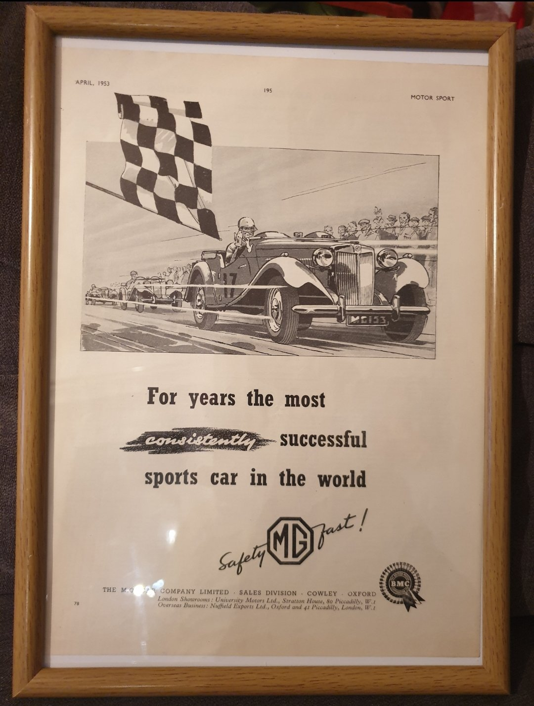 1953 MG Framed Advert Original  For Sale (picture 1 of 2)