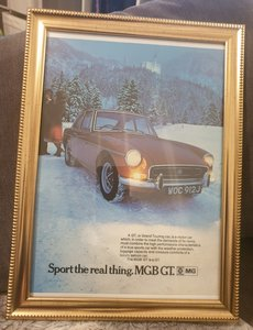1971 Original MGB GT Framed Advert