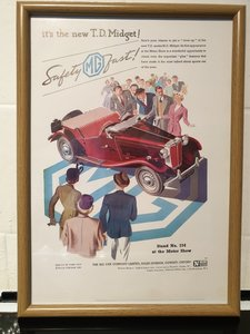 1950 MG Midget Framed Advert Original