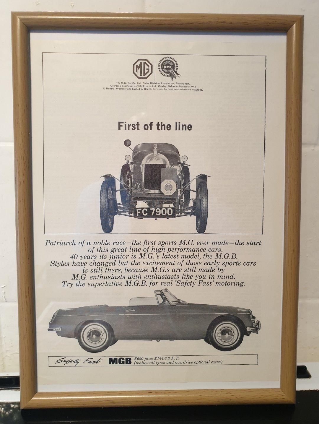 1964 MGB Framed Advert Original  For Sale (picture 1 of 2)