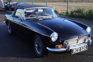 1969 MGB Roadster, black with wires and overdrive