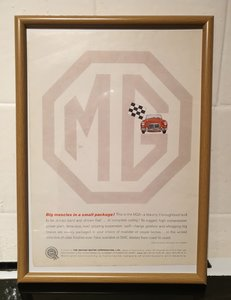 MG A Framed Advert Original