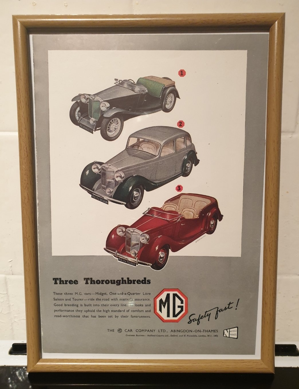 1949 MG Framed Advert Original  For Sale (picture 1 of 2)