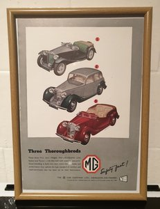 1949 MG Framed Advert Original
