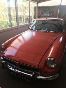 1972 MGB GT  chrome bumper tax and MOT free