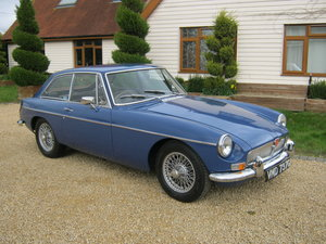 1968 MGB GT. MINERAL BLUE WITH BLACK LEATHER INTERIOR. SOLD
