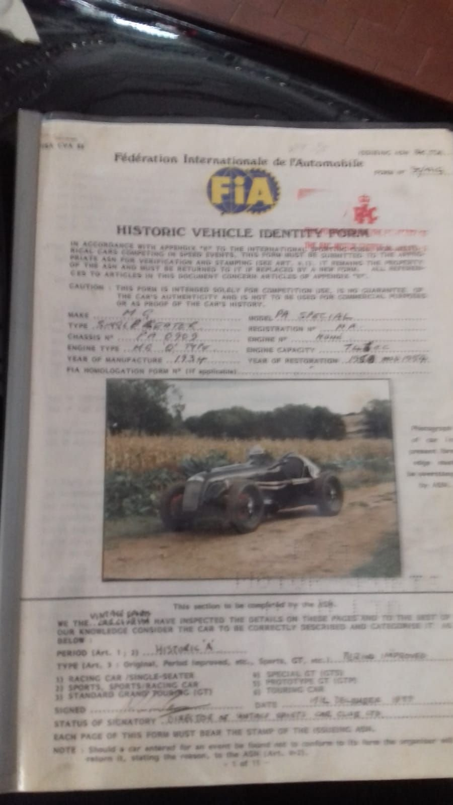 MG PA SINGLE SEATER 1934 FIA Fiche +Palmares -Volum. Compr. For Sale (picture 5 of 6)