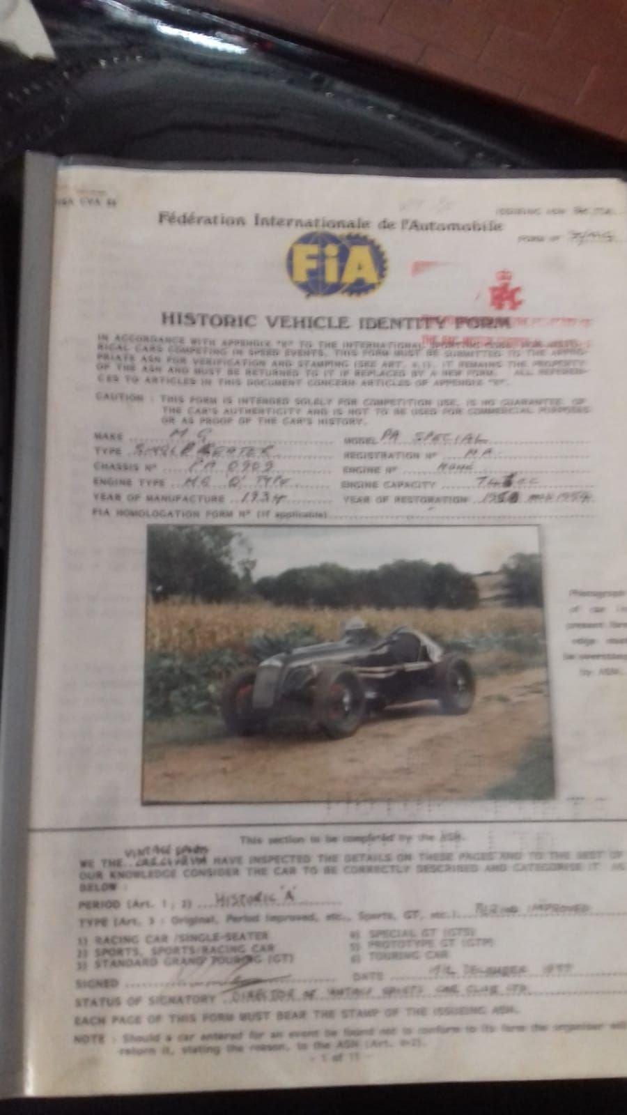 MG  PA SINGLE SEATER 1934 -Palmares-FIA Fiche .Vol.Compres.  For Sale (picture 5 of 6)