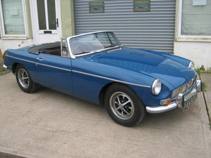 1972 1973 MGB ROADSTER. TAX AND MOT EXEMPT. MINERAL BLUE. SOLD