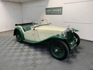 MG ta roadster. Pale yellow with apple green