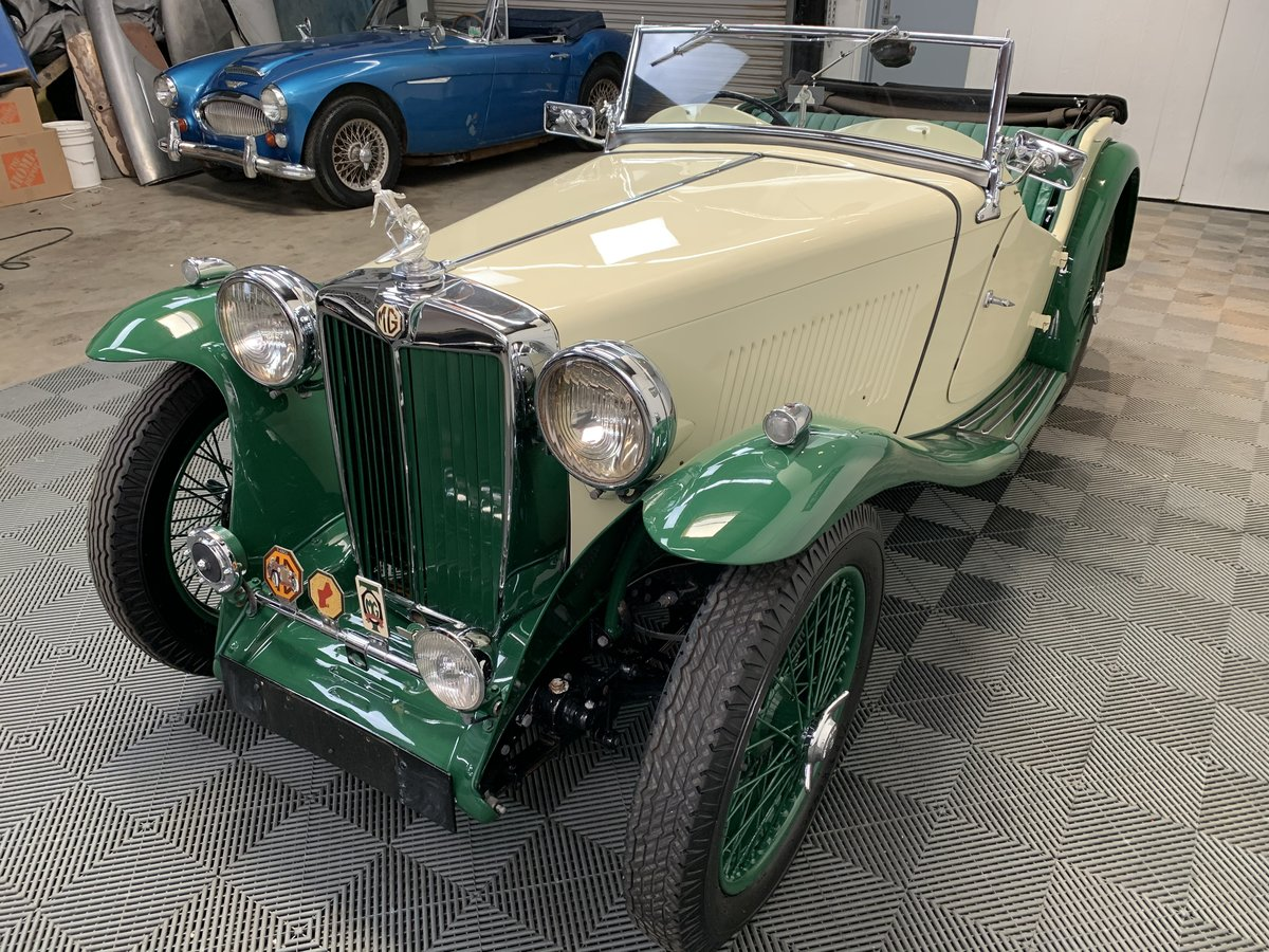 1938 MG ta roadster. Pale yellow with apple green For Sale (picture 2 of 6)