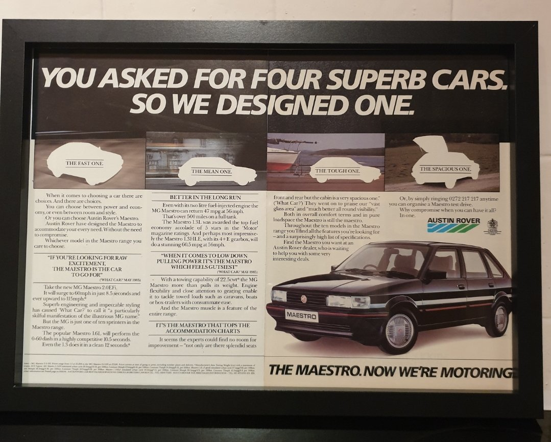 1985 Original MG Maestro Framed Advert For Sale (picture 1 of 2)