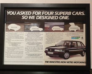1985 Original MG Maestro Framed Advert