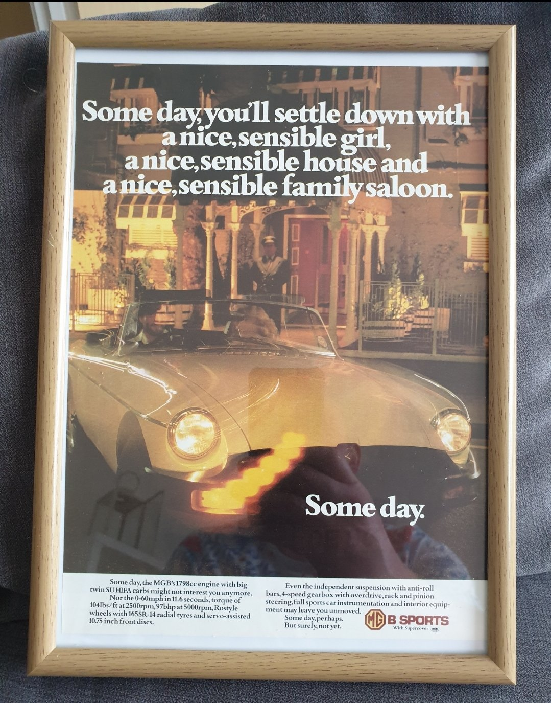 1978 Original MGB Framed Advert For Sale (picture 1 of 2)