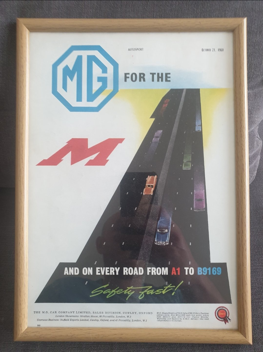 1960 Original MG Framed Advert For Sale (picture 1 of 2)