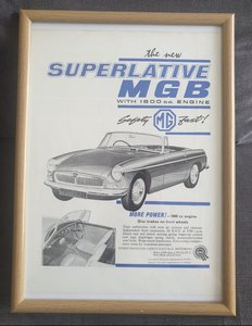 Original 1962 MGB Framed Advert