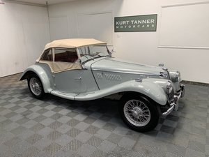 1955 MG tf 1500 roadster. Dove grey with red