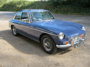 1967 MGB GT. MINERAL BLUE. WEBASTO SUNROOF. CHROME WIRES. SOLD