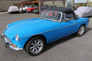 1980 MGB Roadster in Pageant Blue, chrome bumpers