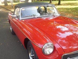 1972 MG B roadster tartan red