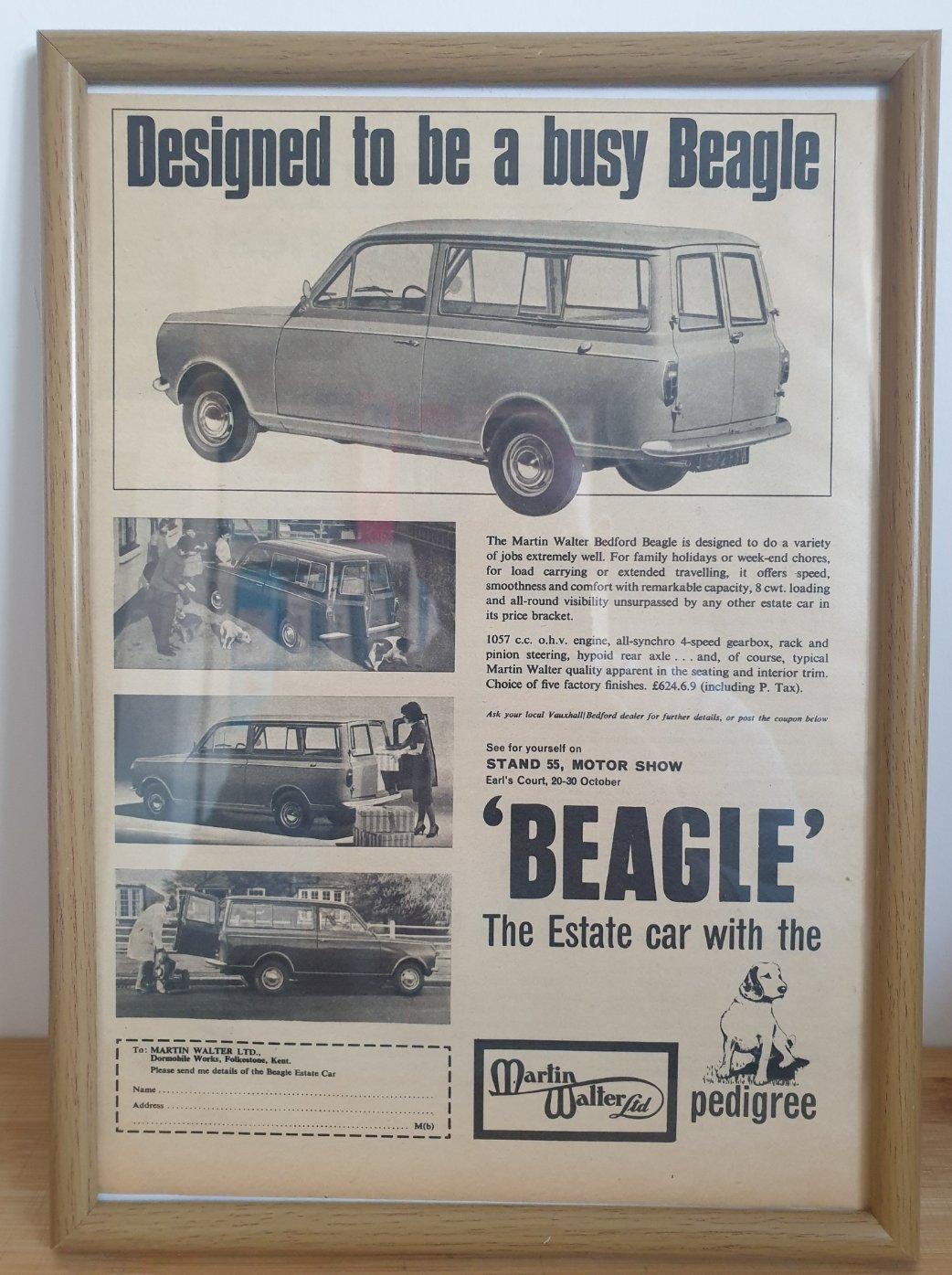 1969 Original 1965 Bedford Beagle Framed Advert  For Sale (picture 1 of 3)