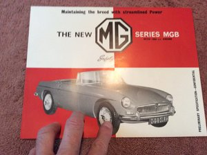 Picture of  MG B Excellent sales brochure