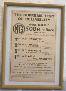 Picture of 1953 Original 1933 MG Framed Advert  For Sale