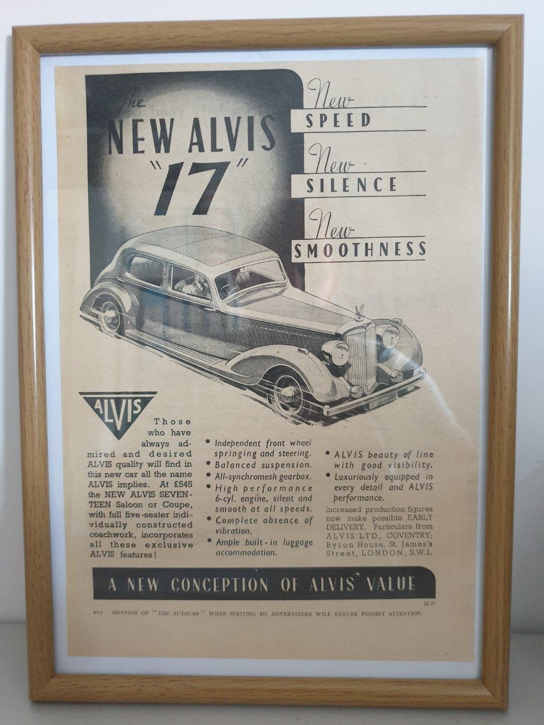 Picture of 1978 Original 1937 Alvis 17 Framed Advert