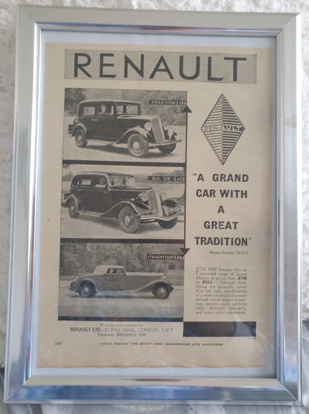 Picture of 1964 Original 1933 Renault Framed Advert For Sale