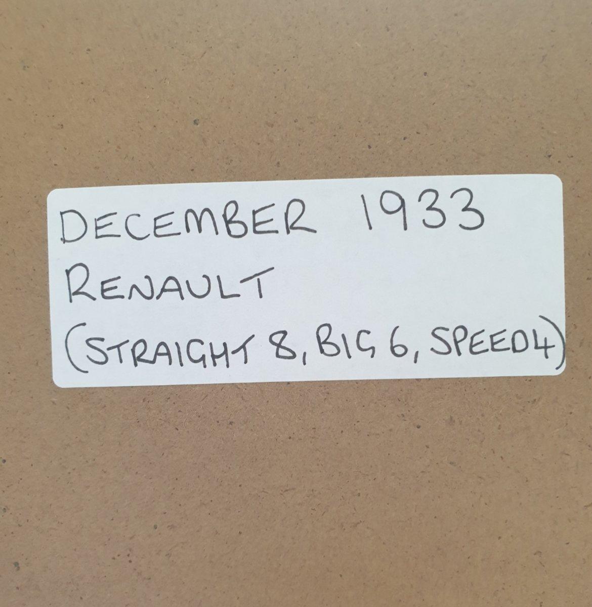 1964 Original 1933 Renault Framed Advert For Sale (picture 2 of 3)