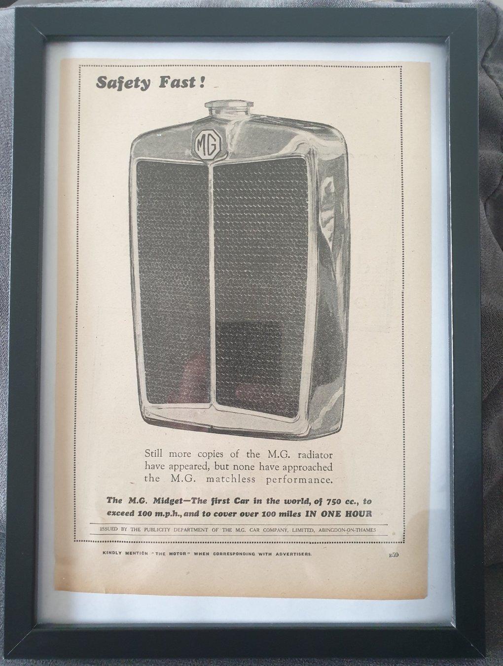 Picture of 1978 Original 1931 MG Midget Framed Advert For Sale