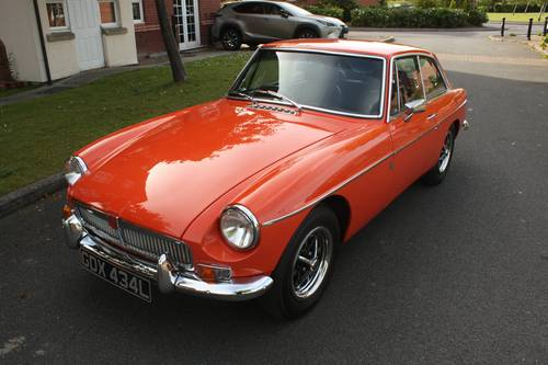 1973 MGB Roadster - Blaze orange, chome Rostyles SOLD (picture 1 of 6)