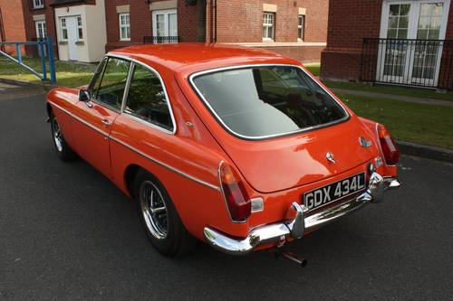 1973 MGB Roadster - Blaze orange, chome Rostyles SOLD (picture 2 of 6)