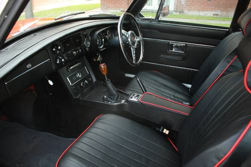 1973 MGB Roadster - Blaze orange, chome Rostyles SOLD (picture 4 of 6)