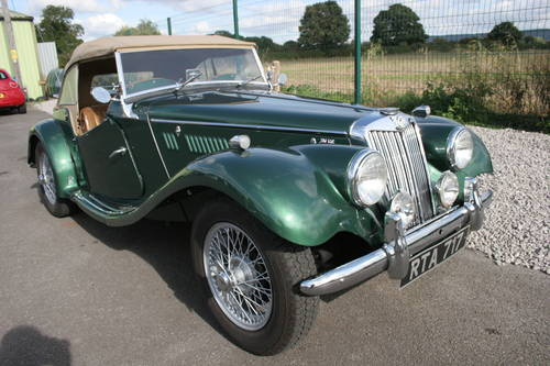 1954 MG TF UK car in metallic Almond green SOLD (picture 1 of 6)