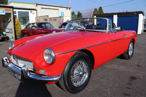 1973 MGB Roadster in flame red, show standard repaint.  SOLD (picture 1 of 6)