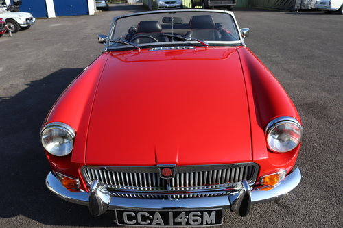 1973 MGB Roadster in flame red, show standard repaint.  SOLD (picture 3 of 6)