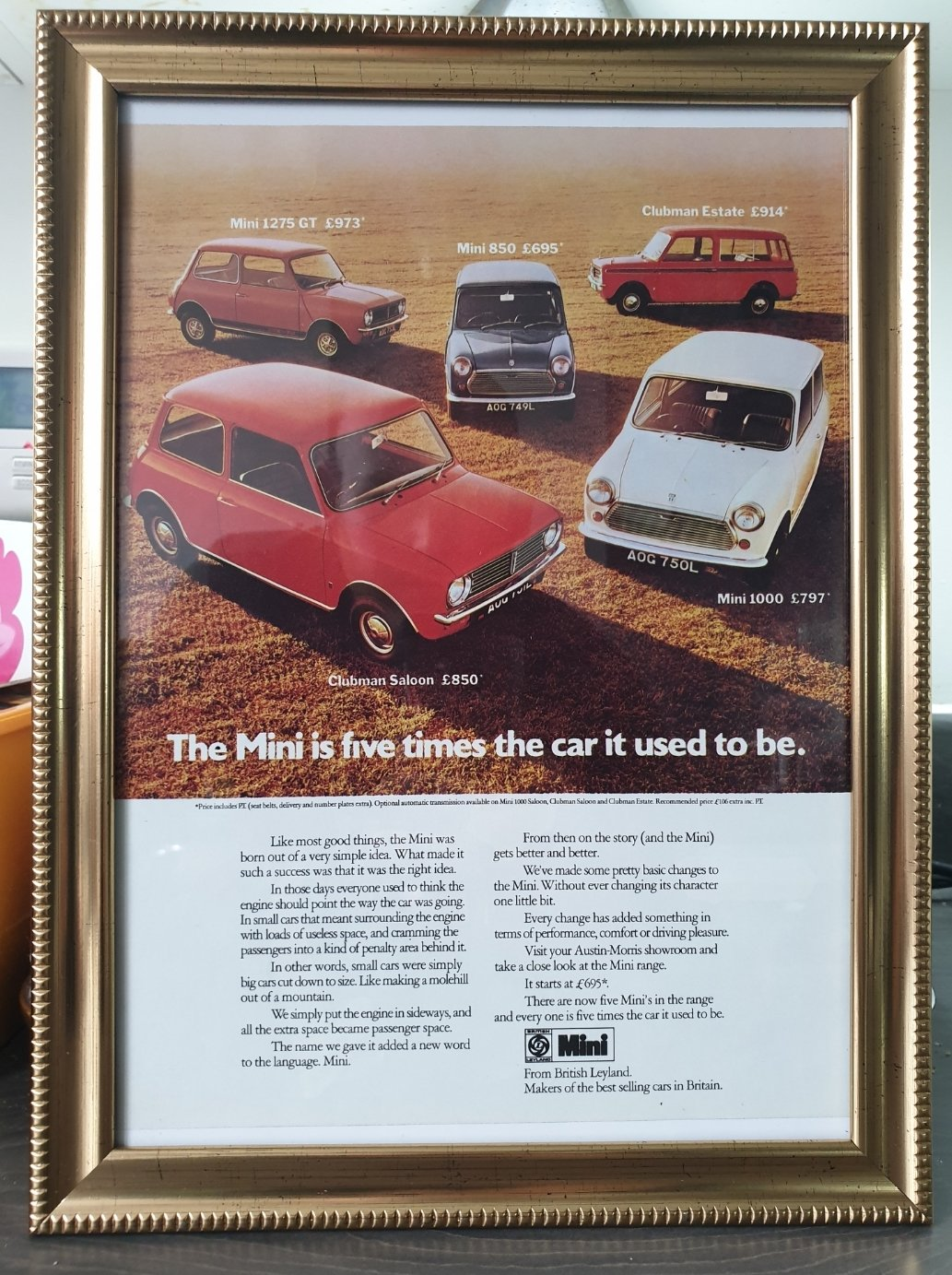 Original 1973 Mini Framed Advert  For Sale (picture 1 of 2)