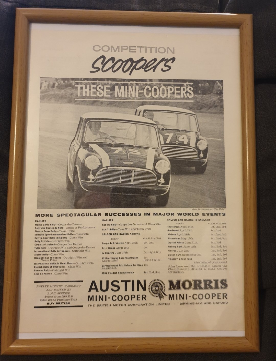 1963 Mini Cooper Advert Original  For Sale (picture 1 of 2)