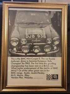 1966 Original  Mini Cooper S Framed Advert
