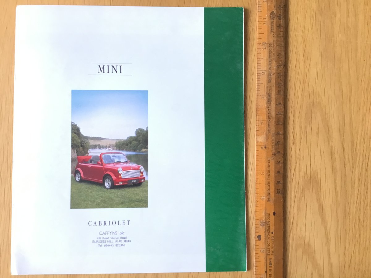 1992 Mini Cabriolet Brochure For Sale (picture 1 of 1)