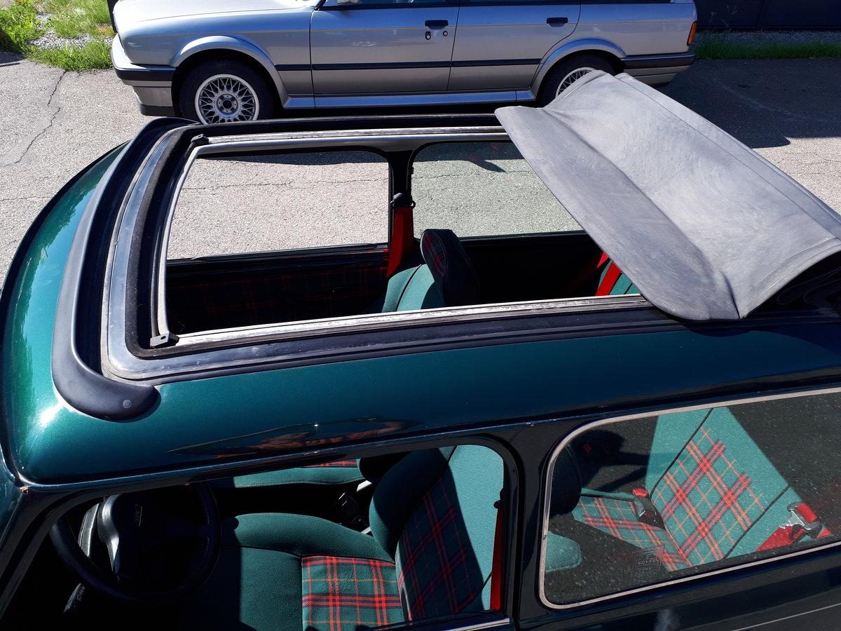 MINI 1300 cabrio Balmoral (1996) green tartan interior For Sale (picture 6 of 6)