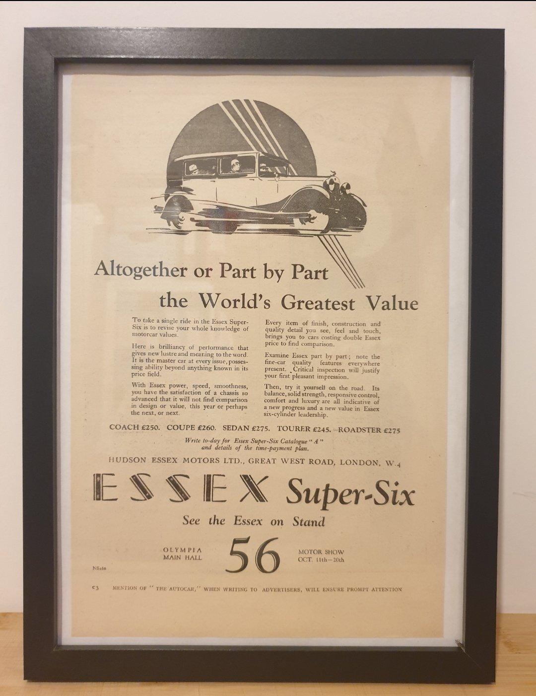 1963 Original 1928 Essex Super Six Framed Advert  For Sale (picture 1 of 3)