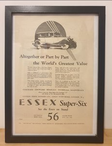 Picture of 1963 Original 1928 Essex Super Six Framed Advert