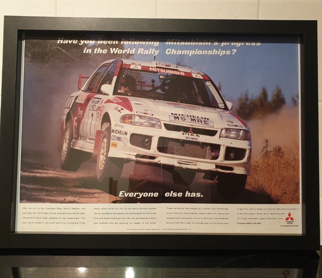 1996 Mitsubishi Evo 3 Framed Advert Original  For Sale (picture 1 of 3)